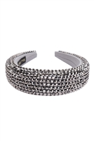 S28-1-5-HDH3297H-RHINESTONE FABRIC COATED HEAD BAND-HEMATITE/6PCS