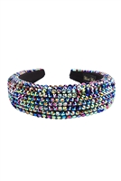 S29-2-2-HDH3297MT-RHINESTONE FABRIC COATED HEAD BAND-MULTICOLOR/6PCS