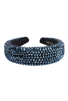 S29-2-3-HDH3297NV-RHINESTONE FABRIC COATED HEAD BAND-NAVY/6PCS