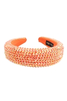 S29-2-2-HDH3297OR-RHINESTONE FABRIC COATED HEAD BAND-ORANGE/6PCS