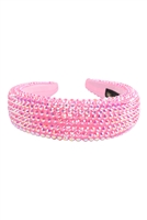 S29-2-3-HDH3297PK-RHINESTONE FABRIC COATED HEAD BAND-PINK/6PCS