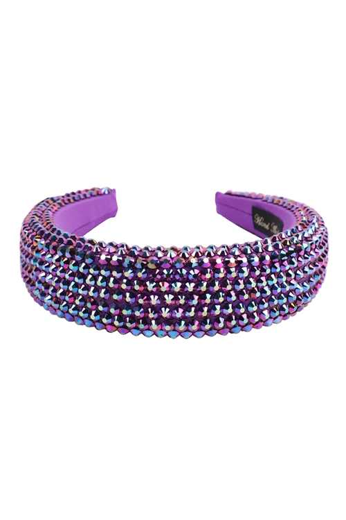 S29-2-3-HDH3297PU-RHINESTONE FABRIC COATED HEAD BAND-PURPLE/6PCS