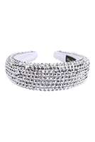 S29-1-1-HDH3297S-RHINESTONE FABRIC COATED HEAD BAND-SILVER/6PCS