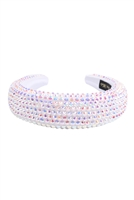 S29-1-1-HDH3297WT-RHINESTONE FABRIC COATED HEAD BAND-WHITE/6PCS