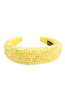 S29-2-3HDH3297YW-RHINESTONE FABRIC COATED HEAD BAND-YELLOW/6PCS