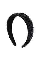 S29-1-3-HDH3299BK-CRYSTAL BEADS COATED HEAD BAND-BLACK/6PCS
