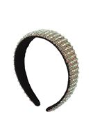 S29-2-1-HDH3299GR-CRYSTAL BEADS COATED HEAD BAND-GREEN/6PCS