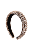 S29-1-5-HDH3301G-CRYSTAL BEADS COATED HEAD BAND-GOLD/6PCS