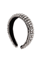S29-1-5-HDH3301S-CRYSTAL BEADS COATED HEAD BAND-SILVER/6PCS