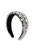 S29-1-3-HDH3302S-GLASS CRYSTAL COATED HEADBAND-SILVER/6PCS