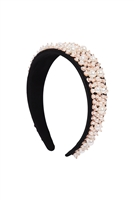 S29-1-4-HDH3303G-ACRYLIC PEARL COATED HEADBAND-GOLD/6PCS