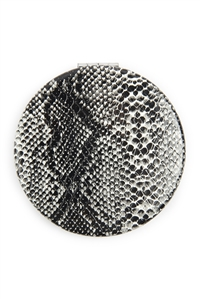 S6-4-2-AHDM2581GY GRAY SNAKE SKIN PRINTED POCKET MIRROR/6PCS