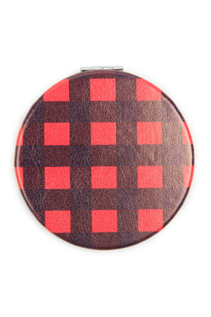 S3-4-2-AHDM2583RD - PLAID PRINTED FACE MIRROR - RED/6PCS