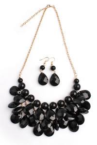 S7-6-1-AHDN1212BK BLACK TEARDROP BUBBLE BIB NECKLACE AND EARRING SET/6SETS