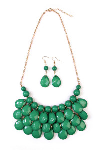 S5-6-3-AHDN1212CGR GREEN TEARDROP BUBBLE BIB NECKLACE AND EARRING SET/6SETS