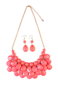 S7-4-2-AHDN1212CO CORAL TEARDROP BUBBLE BIB NECKLACE AND EARRING SET/6SETS