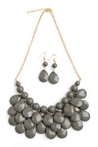 S6-6-2-AHDN1212DGY DARK GRAY TEARDROP BUBBLE BIB NECKLACE AND EARRING SET/6SETS