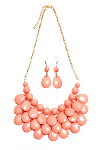 S7-5-2-AHDN1212DPK DUSTY PINK TEARDROP BUBBLE BIB NECKLACE AND EARRING SET/6SETS