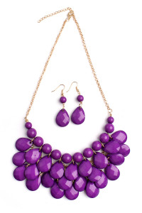 S7-4-2-AHDN1212DPU PURPLE TEARDROP BUBBLE BIB NECKLACE AND EARRING SET/6SETS