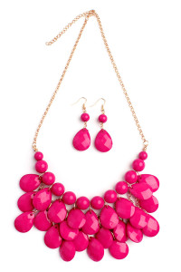 S7-5-3-AHDN1212HPK HOT PINK TEARDROP BUBBLE BIB NECKLACE AND EARRING SET/6SETS