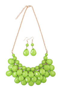 S7-6-4-AHDN1212LGR LIME GREEN TEARDROP BUBBLE BIB NECKLACE AND EARRING SET/6SETS