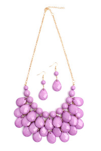 S7-6-4-AHDN1212LV LAVENDER TEARDROP BUBBLE BIB NECKLACE AND EARRING SET/6SETS