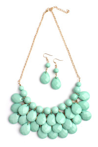 S7-6-4-AHDN1212MN MINT TEARDROP BUBBLE BIB NECKLACE AND EARRING SET/6SETS