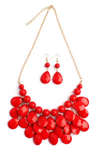 S7-6-4-AHDN1212RD RED TEARDROP BUBBLE BIB NECKLACE AND EARRING SET/6SETS
