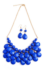 S7-6-4-AHDN1212SP SAPPHIRE TEARDROP BUBBLE BIB NECKLACE AND EARRING SET/6SETS
