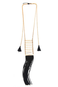 S5-6-2-AHDN1289LBR LIGHT BROWN TASSEL LADDER NECKLACE/6PCS