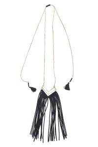 S5-6-3-AHDN1290BK BLACK TASSEL V LAYER NECKLACE/6PCS