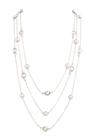 S5-6-2-AHDN1348R SILVER MULTI LINE OCTAGON PEARL CHAIN NECKLACE/6PCS