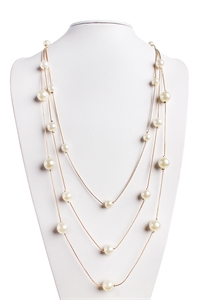 S5-4-4-AHDN1349G GOLD DELICATE PEARL CHAIN NECKLACE/6PCS