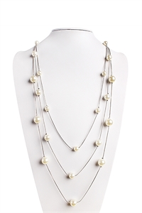 S7-4-3-AHDN1349R SILVER DELICATE PEARL CHAIN NECKLACE/6PCS
