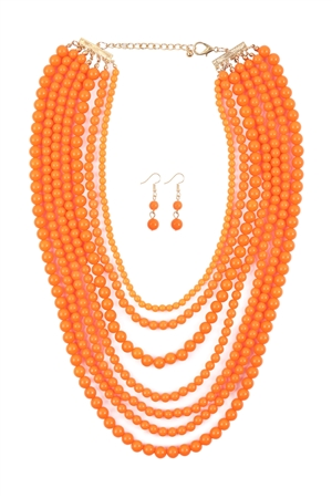 S4-5-4-AHDN1365CO  MULTILAYER ACRYLIC ORANGE NECKLACE & EARRING SET/6SETS