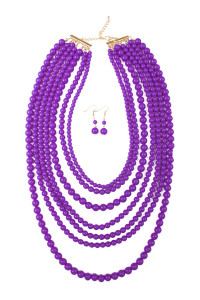 S5-6-4-AHDN1365DPU DARK PURPLE MULTILAYER ACRYLIC NECKLACE AND EARRING SET/6SETS