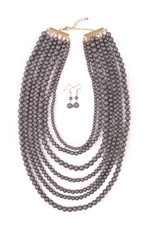 S4-5-3-AHDN1365GY MULTILAYER ACRYLIC GRAY NECKLACE & EARRING SET/6SETS