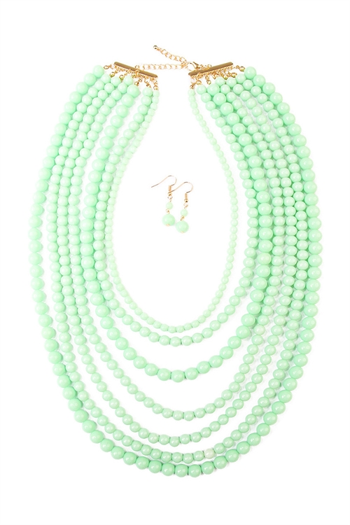 A2-3-2-AHDN1365LMN MULTILAYER ACRYLIC MINT NECKLACE & EARRING SET/6SETS
