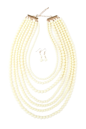 S6-6-4-AHDN1365NA MULTILAYER ACRYLIC NATURAL NECKLACE & EARRING SET/6SETS