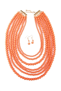 S6-6-4-AHDN1365PE MULTILAYER ACRYLIC PEACH NECKLACE & EARRING SET/6SETS
