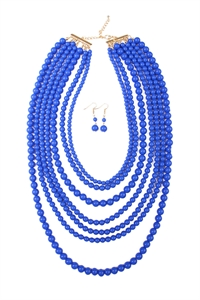 S5-6-3-AHDN1365SP MULTILAYER ACRYLIC SAPPHIRE NECKLACE & EARRING SET/6SETS