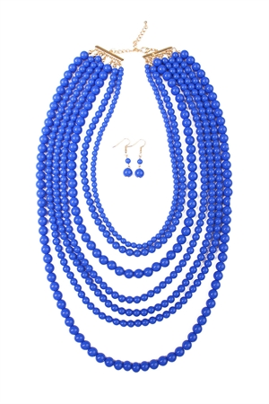 S6-4-4-AHDN1365SP MULTILAYER ACRYLIC SAPPHIRE NECKLACE & EARRING SET/6SETS