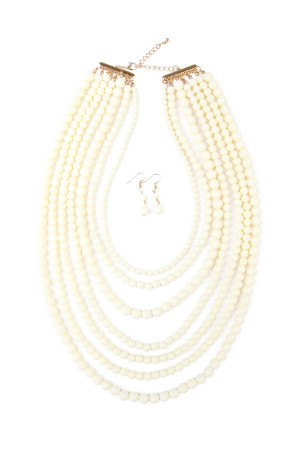 S4-6-3-AHDN1365WT MULTILAYER ACRYLIC WHITE NECKLACE EARRING SET/6SETS