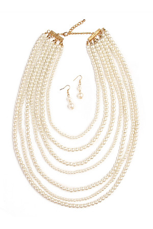 S5-4-2-AHDN1378 PEARL MULTILAYER ACRYLIC PEARL NECKLACE AND EARRING SET/6SETS