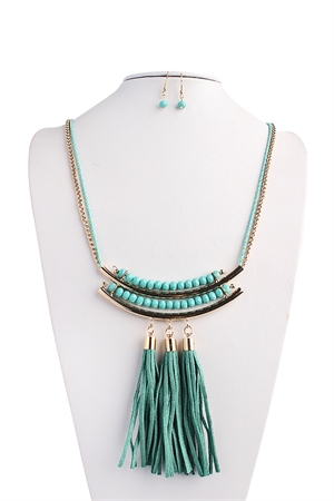 S4-5-2-AHDN1423MN MINT TASSEL STATEMENT NECKLACE AND EARRING SET/6SETS