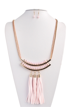 S4-5-2-AHDN1423PK PINK TASSEL STATEMENT NECKLACE AND EARRING SET/6SETS