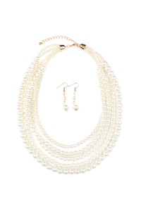 S7-6-2-AHDN1442 CLASSIC PEARL LAYER NECKLACE AND EARRING SET/6PCS