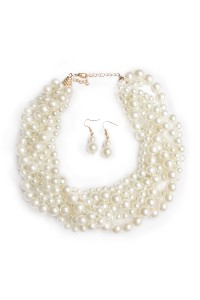 S46-4-1-AHDN1443 BRAIDED PEARL NECKLACE AND EARRING SET/6SETS