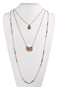 S7-4-3-AHDN1450BG BURNSH GOLD BOHO LAYERED NECKLACE/6PCS