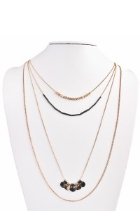 S7-4-3-AHDN1451BG BURNISH GOLD FOUR LAYERED NECKLACE/6PCS